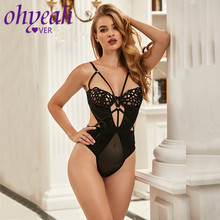 Ohyeahlover Backless Transparent Bodysuit Sexy Hollow Out Overalls Women 1/2 Cup Lingerie Splice Underwire Ropa Mujer RL80993