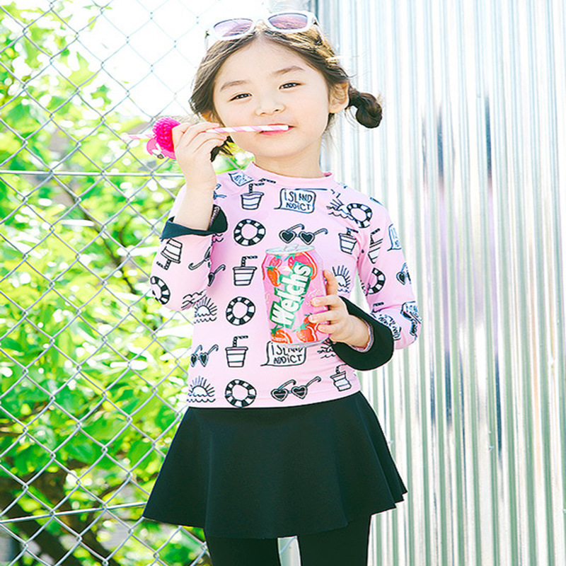 Korean-Style Princess Children Two-piece Swimsuits Outdoor Beach Sun-resistant Long Sleeve Trousers Girls Hipster Bubble Hot Spr