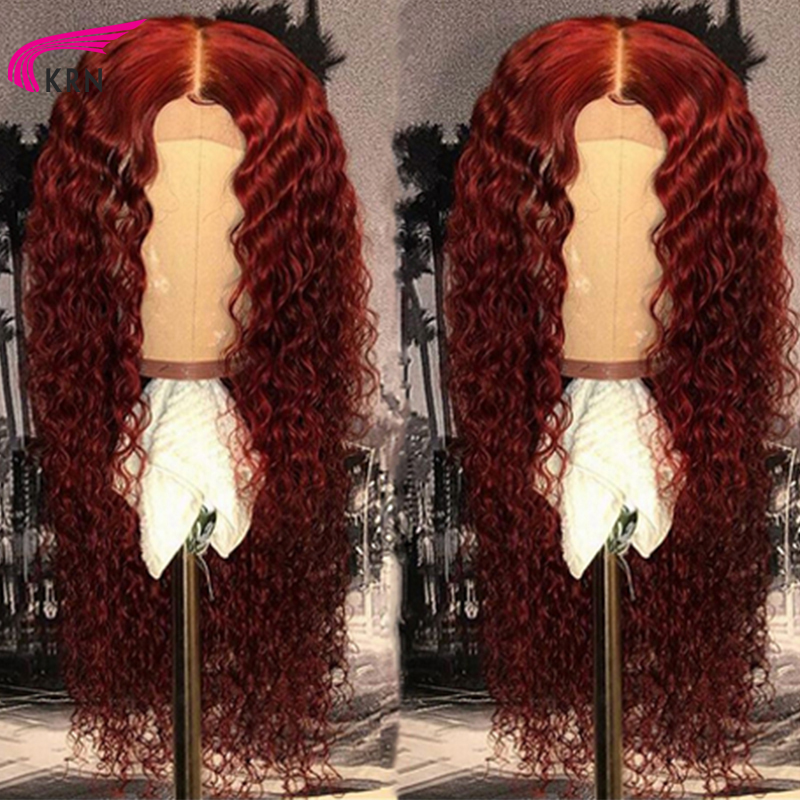 KRN Wig Curly-Wigs Human-Hair Free-Part Lace 99J Burgundy Colored Women Brazilian 13x6 title=