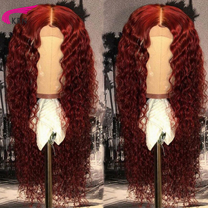 KRN 99J 13x6 Lace Front wig Human Hair Burgundy Colored Human Hair Curly Wigs free Part Brazilian Lace Remy Wig 180% for women(China)