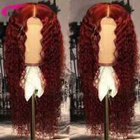 KRN 99J 13x6 Lace Front wig Human Hair Burgundy Colored Human Hair Curly Wigs free Part Brazilian Lace Remy Wig 180% for women