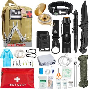 Emergency Survival Kit 47 in 1, Survival Gear Tool Kit SOS Survival Tool Emergency Blanket Tactical Pen Flashlight Pliers Wire S 1