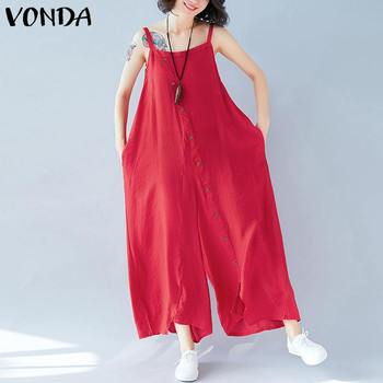 Wide Leg Pants Women Jumpsuit Rompers VONDA 2020 Summer Sleeveless Backless Irregular Solid Playsuits Casual Trousers Plus Size summer sexy bodysuit rompers womens 2020 lace splice backless sleeveless jumpsuit waist thin wide leg pants women clothes z180