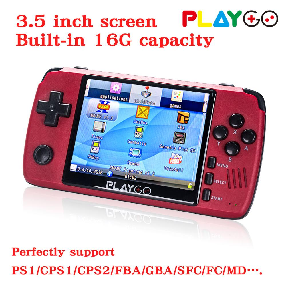Game-Console Emulator Sd-Card Built-In-Games Playgo Portable Handheld Red with 16GB New-Version title=