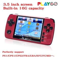NEW Version Red Playgo 3.5 inch screen portable handheld game console with 16GB SD Card built in games emulator pocket console