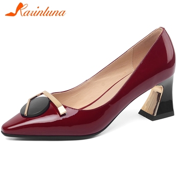 Karinluna New Fashion Top Quality Shoes Woman Pumps Female Pigskin Strange Style Slip-On Metal Decoration Office Lady Pumps
