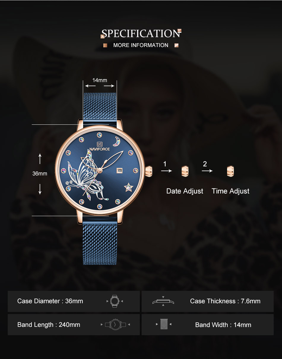 H0153b9fa30754e7497c93a24ed193d773 - NAVIFORCE Luxury Brand Watch Women Fashion Dress Quartz Ladies Mesh Stainless Steel 3ATM Waterproof Casual Watches for Girl