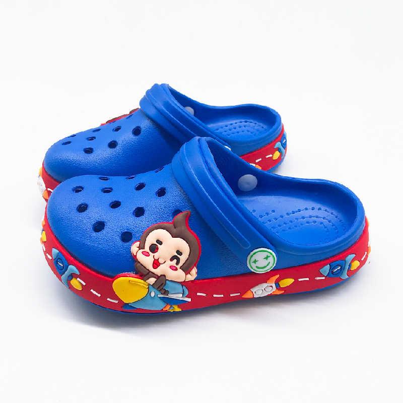 Summer Kids Boys Croc Cartoon Monkey Slippers For Boys Girls Soft Waterproof Non Slip Hole Children Beach Shoes Indoor Slipper Mules Clogs Aliexpress