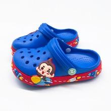 Summer Kids Boys Croc Cartoon Monkey Slippers For Boys Girls Soft Waterproof Non Slip Hole Children Beach Shoes Indoor Slipper