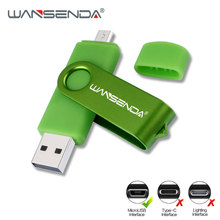 WANSENDA OTG USB Flash Drive Metal Pen Drive 256GB 128GB 64GB 32GB 16GB Cle USB Stick 2.0 Pendrive for Android /Tablet /PC