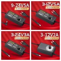 Ajustável 110v-220v ac para dc 3v-12v 3v-24v 9v-24v adaptador universal com tensão de exibição fonte de alimentação regulada 3v 5v 12v 24v