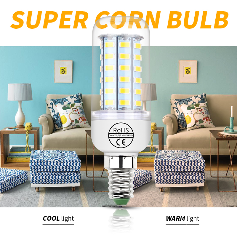 220V LED Light Bulb E27 Corn E14 Led Lamp 2835SMD Table e27 Desk e14 Wall 240V Energy Saving Indoor Lighting