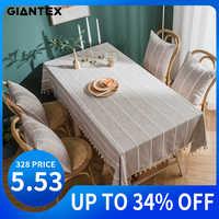 Giantex decorativo toalha de mesa tassel toalha de mesa retangular toalhas de mesa de jantar capa de mesa obrus tafelkleed mantel mesa nappe