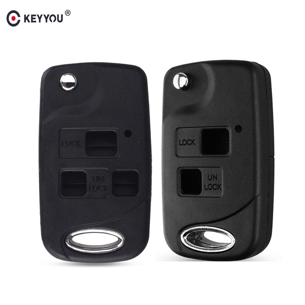KEYYOU Folding Flip 2/3 Button Remote Key Shell Case For Toyota Yaris Prado Tarago Camry Corolla Land Cruiser RAV4 Avalon Echo