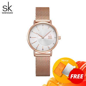 Image 1 - Shengke Quarzuhr Frauen Mesh Edelstahl Armband Beiläufige Armbanduhr Japan Bewegung Bajan Kol Saati Reloj Mujer 2020