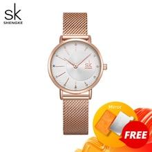 Shengke Reloj de cuarzo para Mujer, correa de Reloj de malla de acero inoxidable, Reloj de pulsera informal de movimiento japonés Bayan Kol Saati, Reloj para Mujer 2020