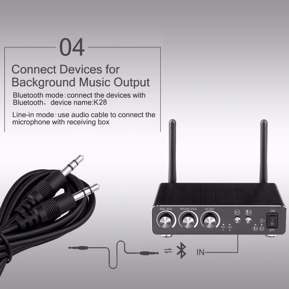 Excelvan Micro K28 Wireless Dual Channel Microphone Adjustable Echo Volume Digital Low Distortion For Home Entertainment Conference (8)