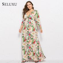 Seluxu 2019 Autumn Plus Size Women Dress Sexy V-Neck Three Quarter Sleeve Floral Print Long Large