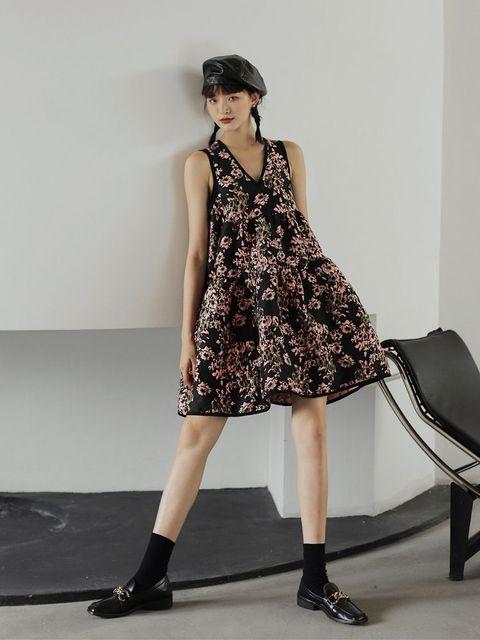 Nbpm Women's Dress High Waist Weet Sleeveless Flower Pattern New 2021 Winter Spring Women Dresses 1
