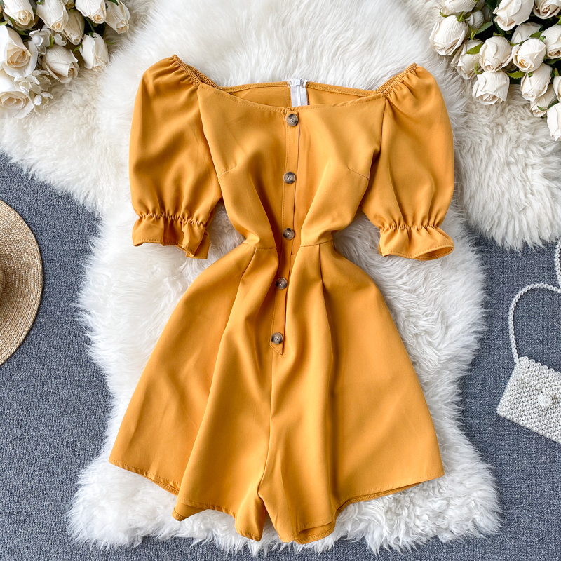 Vintage Yellow Boho Slim Button 2020 Off Shoulder Jumpsuit Casual Sexy Women Rompers Short Summer Playsuit Beach Holiday Romper