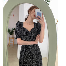 Plus Size New Summer Dress Girls Boho Party Chiffon Female Vintage Dress  black Print Short Sleeve Women Dresses Robe Vestido