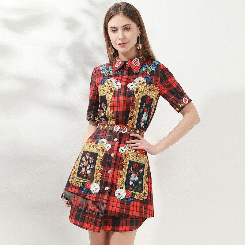 2020 Spring Runways Women's High Quality Short Sleeves Plaid Shirts+tassels Skirts Two Piece Set B470