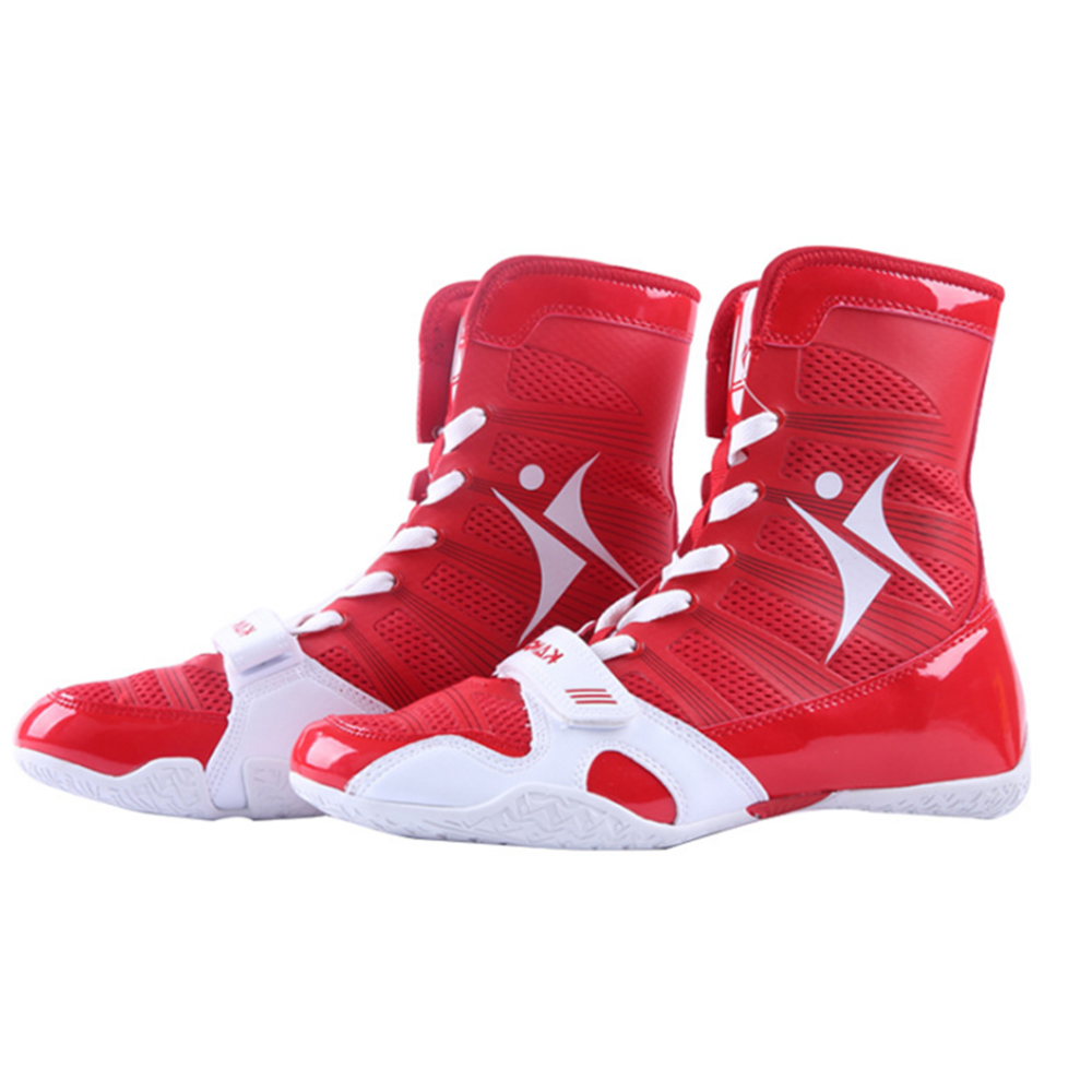 TaoBo Authentic Wrestling Shoes for Men Training Shoes Boxing Shoes Rubber Outsole Breathable Cow Muscle Outsole Lace Up Boots
