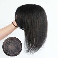 Halo Lady Beauty Human Hair Loss Clip Bangs Fringe Hair Volume Topper Brazilian Straight Non-remy Air Bangs For Hair Loss
