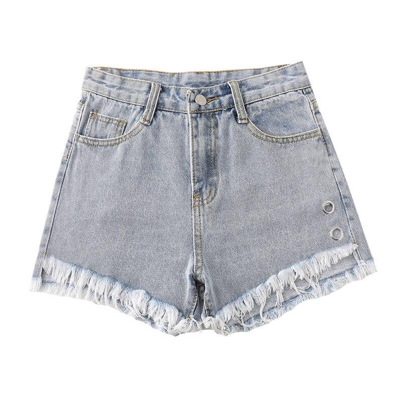 Women's Denim Shorts Vintage High Waist Fur-lined Leg Button Wide Leg Female Caual Summer Ladies Shorts Jeans For Women