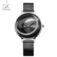Shengke Elegant Women Watches Creative Crystal Dial design L
