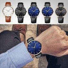 Montre pour hommes de marque luxe Ultra mince en acier inoxydable horloge mâle verre bleu montre Sport 01