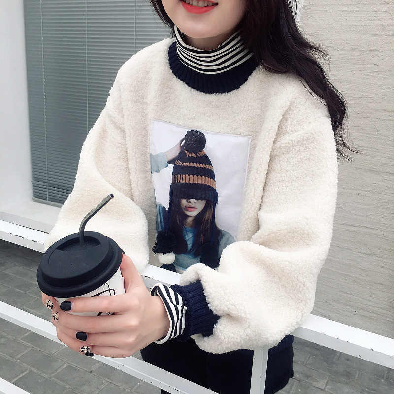 Mùa Thu Rời Áo Len Nữ Hàn Quốc Mới Triều Thịt Cừu Tóc Cao Cổ Đáng Yêu Plus Nhung Dày Áo Len Thời Trang Dây Nhảy Nữ Cao Cấp