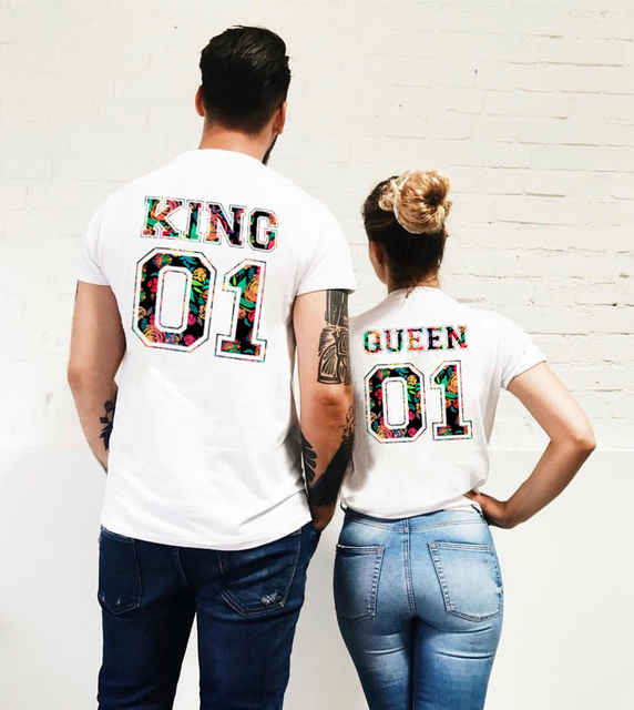 King Queen Couple Matching T Shirts Summer O Neck Short Sleeve Lovers T-shirt Fshion Graphic Tumblr TShirts Poleras Mujer