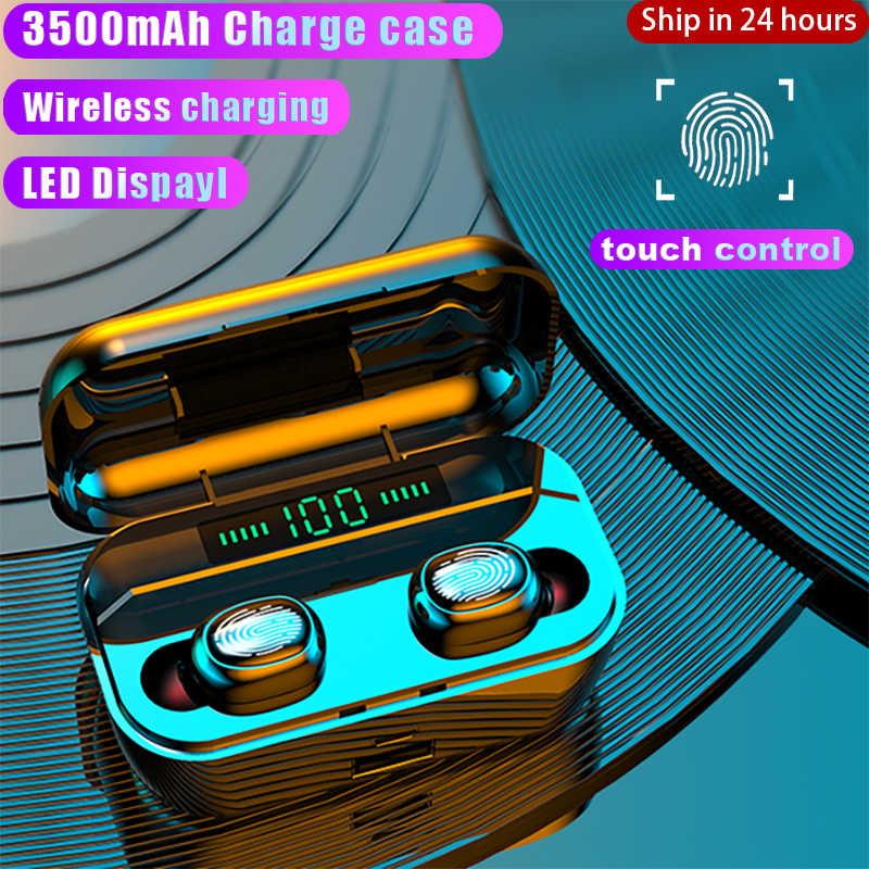 Baru 3500M Ah Bluetooth Earphone Headphone Nirkabel Touch Kontrol LED Display Nirkabel Pengisian Sport Tahan Air Headset Earbud