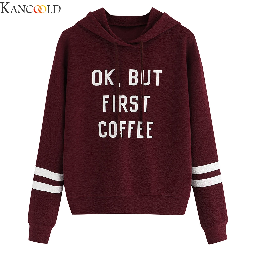 KANCOOLD Conventional Models New Style Womens Autumn Long Sleeve Patchwork Drawstring Sweatshirt Hooded Pullover Tops Blouse