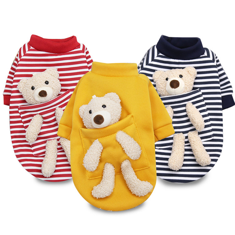 New autumn and winter Dog  jersey sweater spring cat cute bear pet dog clothes  for small dogs chihuahua teddy  Yorkies