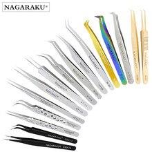 NAGARAKU herramientas curvas y rectas para uñas, de acero inoxidable, extensión de pestañas, pinzas tenazas precisas, Clip en punta, conjunto de herramientas de maquillaje