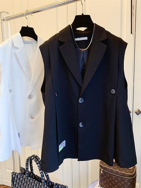 [EWQ] Simple Fashion Trend Ladies Vest Black Office Ladies Clothing 2021 Summer New  Letter Pleated Suit Collar Coats 16W1598 3