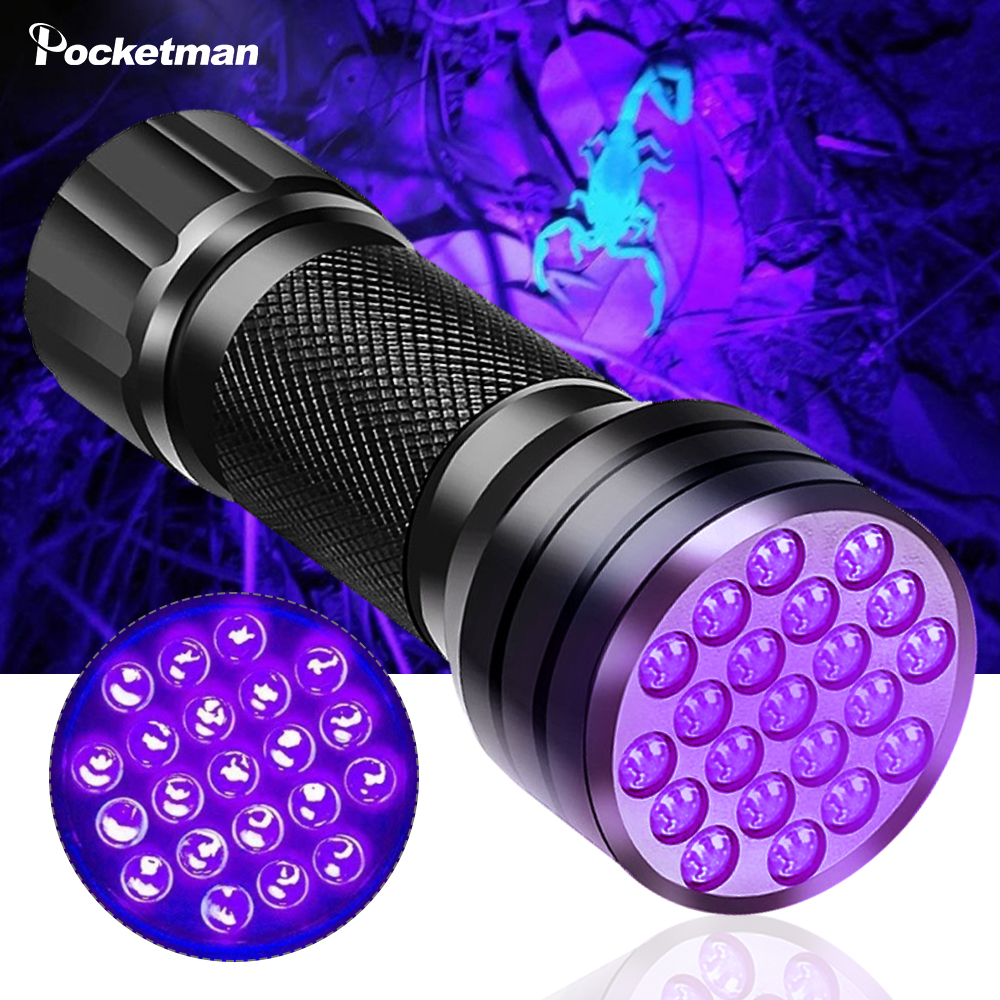 Portable UV Flashlight Black Light UV Lights 21 395nm Torch LED Ultraviolet Linterna Pet Urine Detector For Dog/Cat Urine