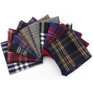 Striped Handkerchief Scarves Vintage Cotton Hankies Men's Pocket Square Handkerchiefs 23*23cm Length
