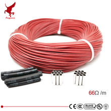 цена на 6k 66ohm silicone rubber carbon fiber heating cable 5V-220V floor heating low cost high quality infrared heating wire
