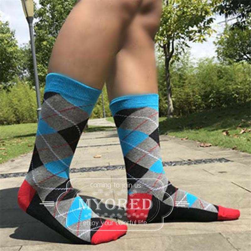 MYORED 5 paren/partij mannen katoenen sokken ARGYLE patroon voor man casual jurk klassieke lange sok man paar huwelijkscadeau sok GEEN DOOS