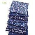 Chainho 8 шт./лот  темно-синяя Цветочная серия  набивная саржевая хлопчатобумажная ткань  Лоскутная Ткань для самостоятельного шитья  материал д...