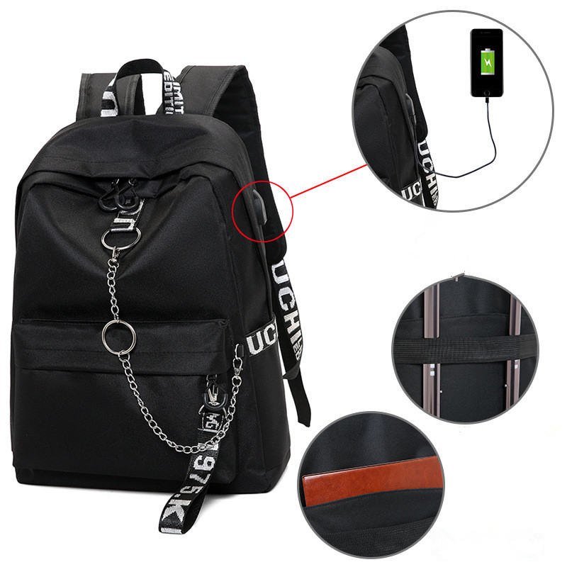 Winmax Large USB Charge Backpacks Men Women Anti-thief Fashion Travel SchoolBag For Teenager Girls Ribbon Chains Laptop Backpack