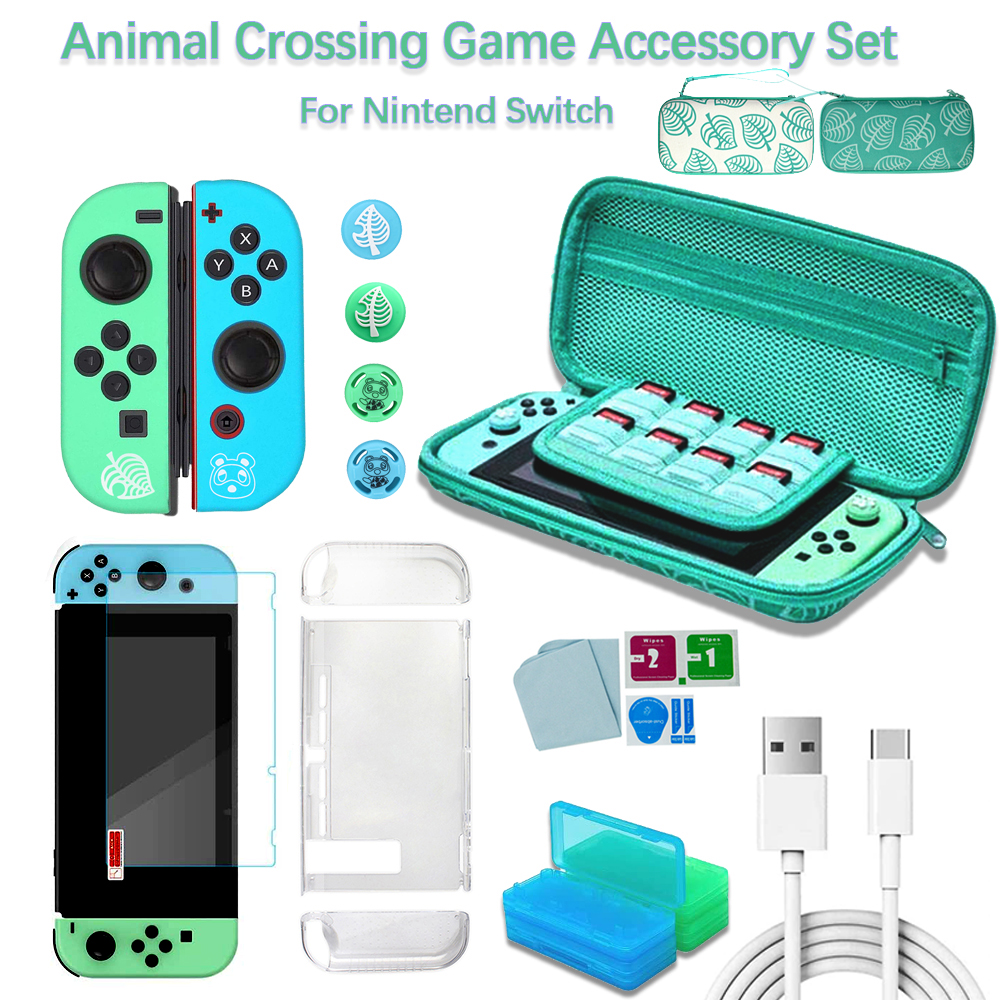 Animal Crossing Game Accessories Kit For Nintendo Switch Carrying Storage Case Screen Protector Joy-Con Protective Cover