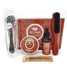 Oil Beard Balm Roller-Growth-Serum Essential-Oil Comb Derma Wax Moisturizing Men 5pcs/Set
