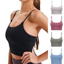 Mulher acolchoado sutiã esportivo fitness workout correndo camisas yoga tanque topo longline cami tanque com construído em sutiã