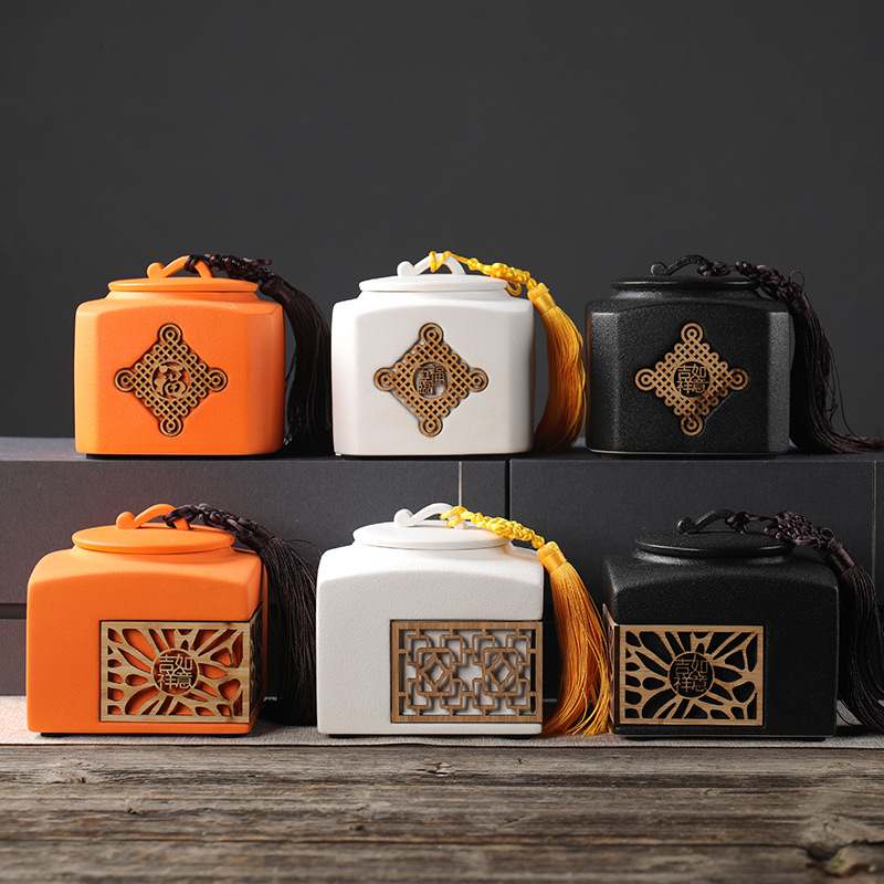 Chinese Elements Creative Ceramic Tea Caddy Coffee Beans Sealed Cans Food Storage Tank Hollowed-out Tea Packaging Boxes