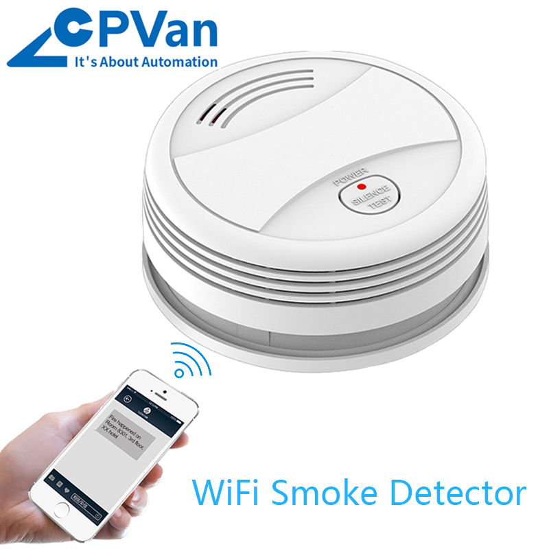 CPVan WiFi Smoke Detector Fire Alarm Tuya APP Smart Life APP Smoke Detector Alarm Smoke Sensor Home Security Detector Smoke