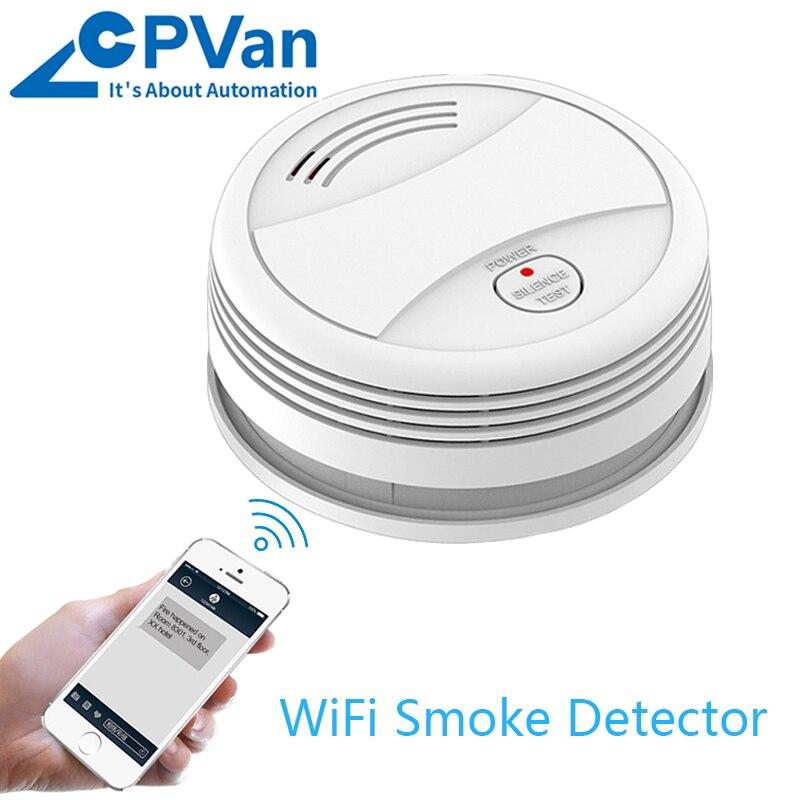 CPVan Wifi Smoke Detector Fire Smoke Tuya APP Control Smoke Sensor Protection Smoke Gas Detector Home Alarm System Rookmelder
